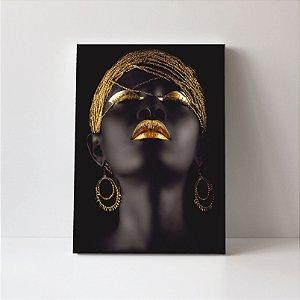 Quadro em Canvas Maquiagem Dourada