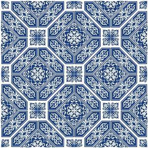 Adesivo de Azulejo Patchwork Blue White