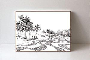 Quadro em Canvas Praia de Copacabana