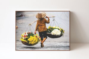 Quadro em Canvas Vendedor de Flores em Hanoi