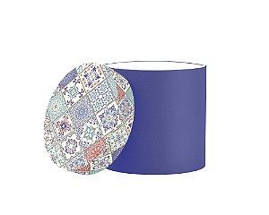 Caixa Redonda Estampada Tampa Azulejo Azul
