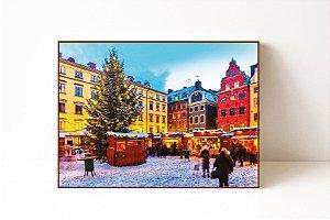 Quadro em Canvas Inverno Colorido
