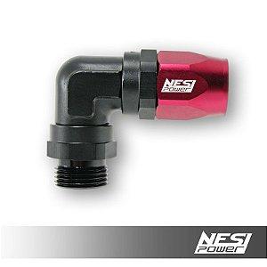Conexão 12an 90º Low Profile Macho Nesipower - Preto e vermelho