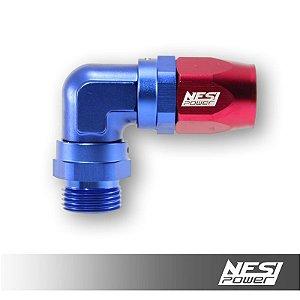 Conexão 12an 90º Low Profile Macho Nesipower  Azul e Vermelho