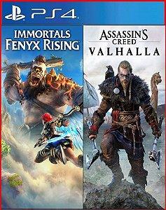 Pacote Assassin's Creed Valhalla + Immortals Fenyx Rising ps4 mídia digital