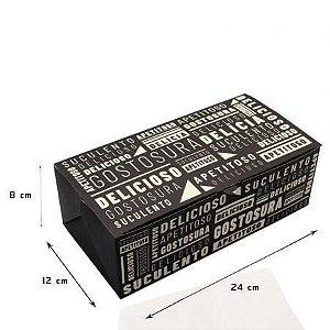 Caixa Hamburguer Box Black Duplo 239x80x120mm  - Com 50 unidades