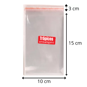 Saco aba adesiva  10x15+3 - com 100 unidades