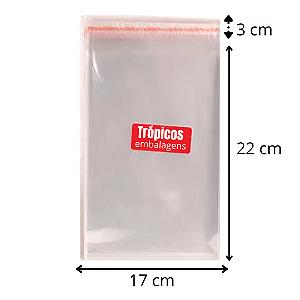 Saco aba adesiva  17x22+3 - com 100 unidades
