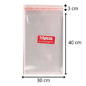 Saco aba adesiva  30x40+3 - com 100 unidades