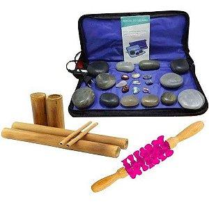 Kit Massagem Pedras Quentes Vulcanicas 220v + Bambus + Rolo
