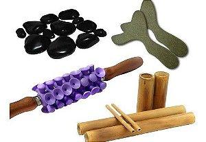 Rolo De Massagem Turbinada + Kit Bambu + Kit Pedras+pantalas