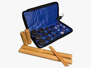 Kit Massagens Com Pedras Quentes Basalto 110v + Bambu