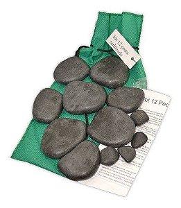 Kit 12 Pedras Quentes Basalto Turbinado Para Massagem Relaxa