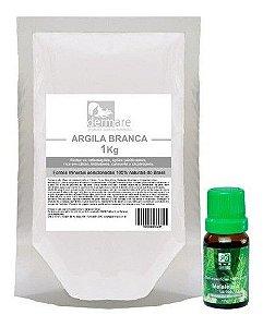 Kit Argila Branca 1kg E Oleo Essencial De Melaleuca 10ml