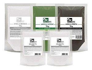 Kit Argilas Branca, Verde, Preta 1k E 2 Dolomita 500g