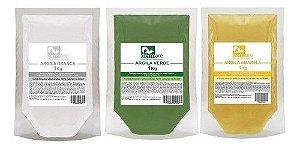 Kit Argila Branca, Verde E Amarela 1kg - 100% Naturais