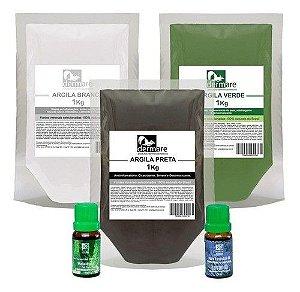 Kit Argilas Branca, Verde E Preta, Oleos Melaleuca E Lavanda