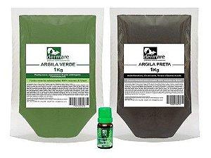 Kit Argilas Verde E Preta E Oleo Essencial De Melaleuca 10ml