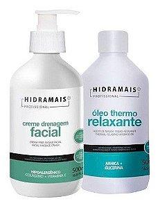 Oleo Thermo Relaxante 500ml + Creme Drenagem Facial 500ml