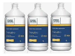 Oleo De Massagem Neutro 1l Dagua Natural - 3 Unidades