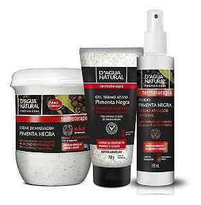 Kit Pimenta Negra Creme Gel E Fluido Redução Dagua Natural