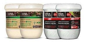 Kit 2 Cremes De Massagem Pimenta Negra + 2 Cremes Cafeina