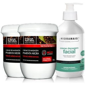Kit 2 Cremes De Massagem Pimenta Negra + Drenagem Facial