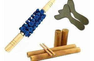 Kit Massagem Modeladora Bambu + Par Pantala + Rolo Turbinado
