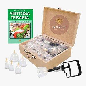Kit 12 Ventosas Acrilico + Aplicador + Maleta Estek + Livro Ventosaterapia
