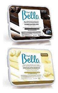 Kits Ceras Depilação Chocolate Dark e Branco Depil Bella 800g