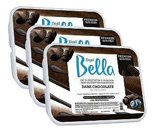 Combo 3 Cera Depilatoria Dark Chocolate Depil Bella - 1kg