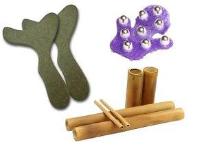Pantala P/ Massagem Corporal  ( Par)+kit Bambu+luva Massagem