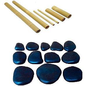 Kit Bambu + Kit Com 12 Pedras P/ Massagem Corporal E Facial