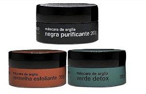 3 Mascaras Argila Negra + Verde + Vermelha Hidramais 200g
