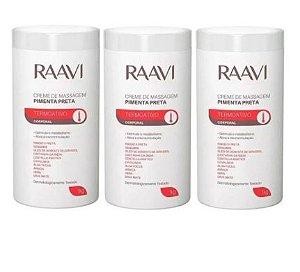 Kit 3 Raavi Creme De Massagem Pimenta Preta - 1kg