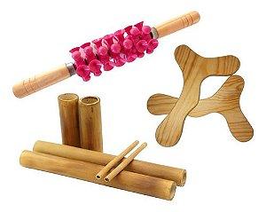 Kit para Massagem Modeladora Bambus Rolo Turbinada Rosa e Pantala