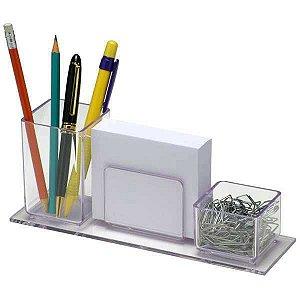 Porta lapis/clips/lembrete com papel branco Acrimet 947