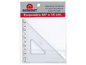 Esquadro Acrimet 522 escolar de 45 graus com 16 cm de comprimento