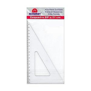 Esquadro Acrimet 531 escolar de 30 x 60 graus com 21 cm de comprimento