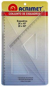 Esquadro Acrimet 568 escolar de 45 e 60  graus com 26 cm de comprimento
