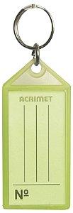 Chaveiro Acrimet 142 com etiqueta de identificação pote com 60 chaveiros de cor unica