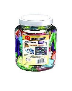 Chaveiro Acrimet 144 com etiqueta de identificação pote com 120 chaveiros sortidos