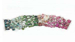 Pulseira de Turmalinas e Diamantes