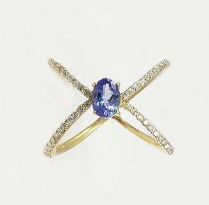 Anel de Tanzanita Com diamantes