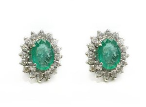 Brincos de esmeralda e Brilhantes