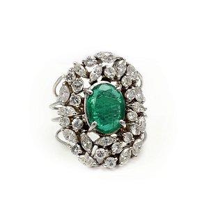 Anel de Esmeralda Africana e Diamantes