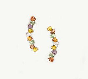Ear Cuff Safiras Gotas Coloridas