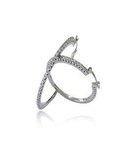 Brinco Argola Diamantes - White