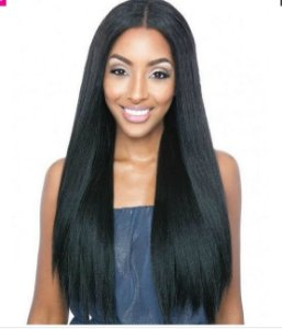 Peruca Front Lace - UniWeave  V - Part Straight Natural YAKI 24