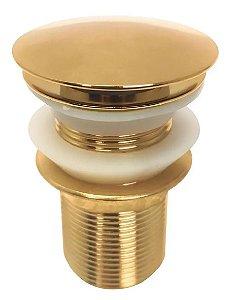 Válvula Click Dourada Inox 1.1/4 Cuba Vidro Louça Banheiro